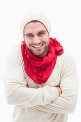 Attractive young man in warm clothes