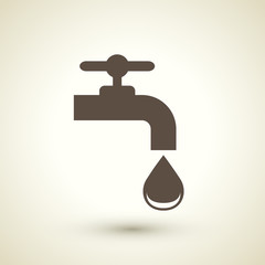 ecology flat icon with faucet element