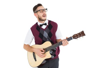 Geeky hipster playing guitar and singing