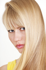 Hair fashion woman with long blonde hair