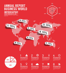 Infographic annual report Business world template design.