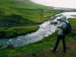 Photographer shooting over the kirkjufell river, west iceland