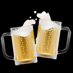 ビール 乾杯 イラスト 黒背景