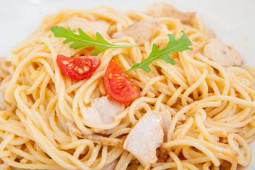 spaghetti (pasta) with chicken fillet