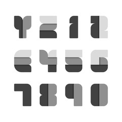 Alphabet set , vector illustration. paper black style.