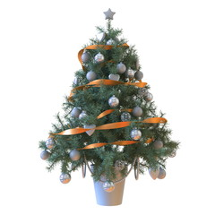 Christmas tree with baubles and orange tape isolated
