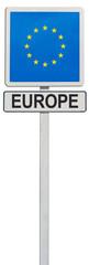 drapeau de l'Europe sur panneau de signalisation