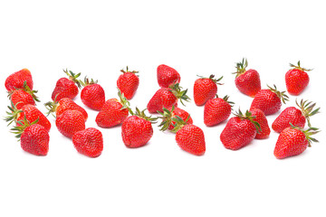 Strawberry group on white