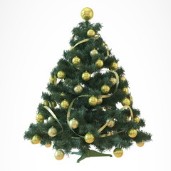Christmas tree with yellow baubles isolated