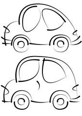 cars sketches isolated on white background