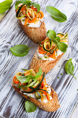 Zucchini,carrot and cheese bruschetta