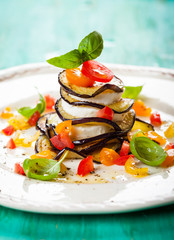 Eggplant, Tomato and Mozzarella Stacks
