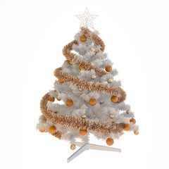 Christmas tree with orange tinsel and baubles isolated