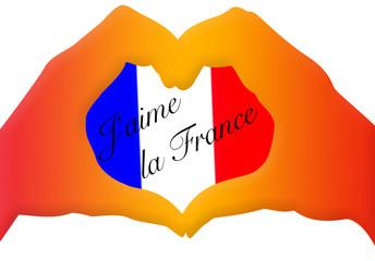 coeur tricolore, j'aime la France !