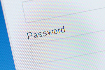 Close up of password field. Concept of online communication