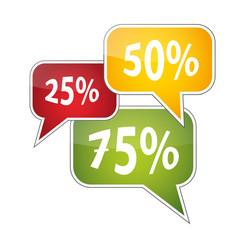 Rabatte - 25% - 50% - 75% Sprechblasen