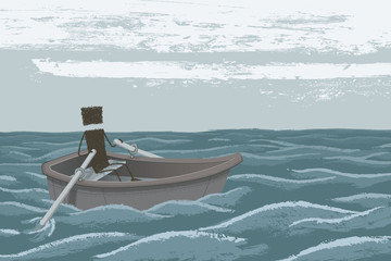 Paddling. A person navigating a rowboat