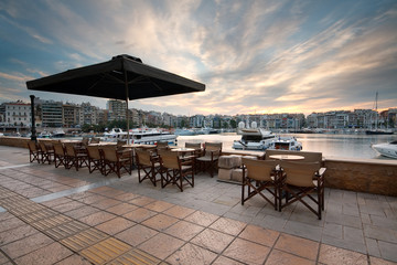 Coffee shop terrace in Zea marina, Piraeus, Athens.