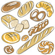 set of different breads, vector