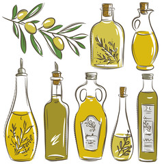 set of bottle for olive oil, vector