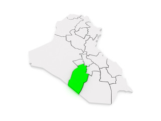 Map of Najaf. Iraq.