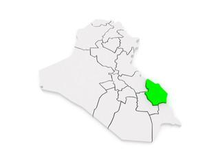 Map of Maysan. Iraq.