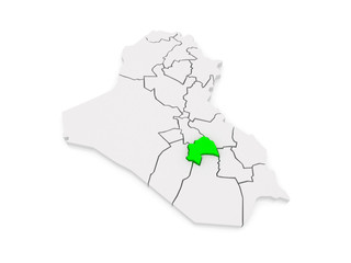 Map of Quadisiya. Iraq.