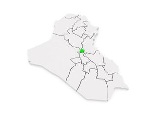 Map of Baghdad. Iraq.