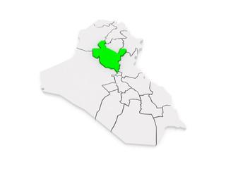 Map of Salah al-Din. Iraq.