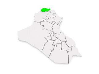 Map of Dohuk. Iraq.