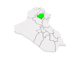 Map of Kirkuk. Iraq.