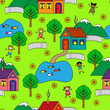 Bright seamless pattern with houses, trees and funny people