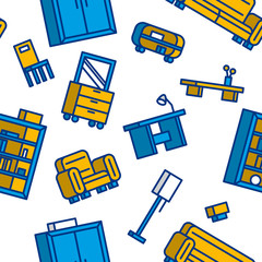 Furniture seamless pattern. Vector illustration.
