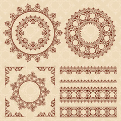 brown vintage ornaments and frames - vector set