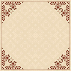 quadratic background with ornament in corners - vector