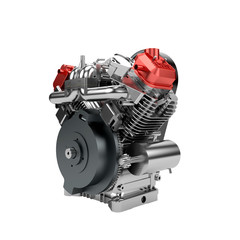 Assembled V2 engine of large powerful motorbike isolated on whit
