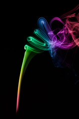 Colorful Smoke Art isolated on black