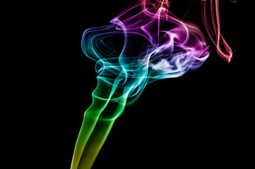 Colored smoke abstract background isolated on black