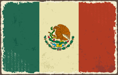 Mexican grunge flag. Vector illustration