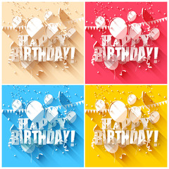 Set of birthday backgrounds in flat design style