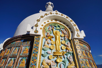 Detail of  Shanti Stupa near Leh ,India