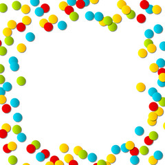 Color confetti on white background