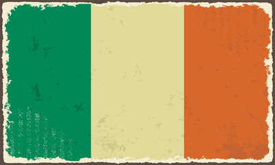 Irish grunge flag. Vector illustration