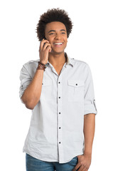 African Man Talking On Cellphone