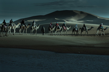 Caravan of tourists passing desert lake on camels in moonlight