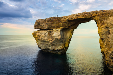 Azure Window, natural arch on Gozo island, Malta,vibrant colours