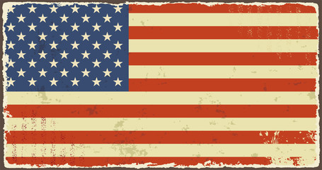 American grunge flags. Vector illustration