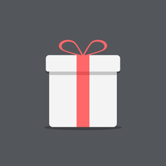 white gift box icon on dark background