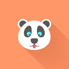 cute panda icon with long shadow