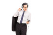 Businessman listening to music on his cell phone